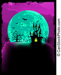 Scary halloween vector with magical abbey. EPS 8