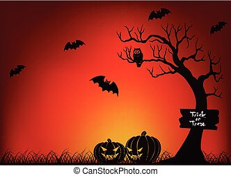 Scary Halloween With Bat and Tree