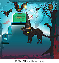 Scary halloween with cat, bats, ghost and gravestones