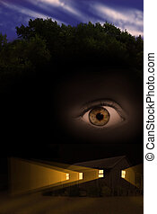 Scary haunted house in forest with light beams coming from windows and floating eye.