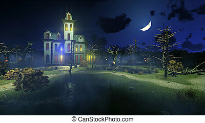 Scary haunted mansion under night sky