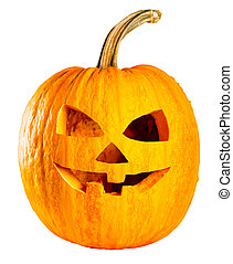 Scary head Jack O Lantern halloween pumpkin isolated on white background