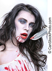 Image of a Bleeding Psychotic Woman