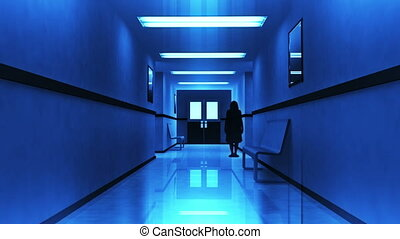 Scary Hospital Corridor Horror Thriller Scene Yurei Japanese Style Ghost Appear