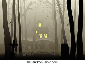 Scary house and cemetery in the dark woods - Silhouette...