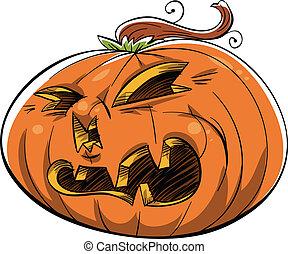 Scary Jack 'O Lantern - A scowling, angry cartoon Jack 'O...