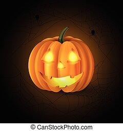 Scary Jack O Lantern halloween pumpkin with candle light ...
