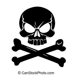 Scary Jolly Roger with bones isolated on white background