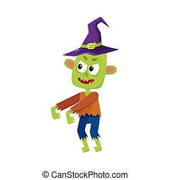 Scary little green zombie monster in pointed witch hat, Halloween