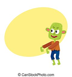 Scary little green zombie monster in rags, Halloween costume