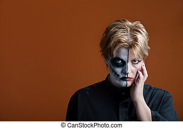 Scary Makeup - Woman wearing a scary makeup for Day of the...