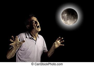 Scary Man Beast Under a Full Moon