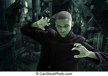 Scary man in dungeon - Green man with smokey white eyes,...