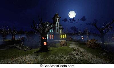 Scary mansion among creepy trees at night 4K