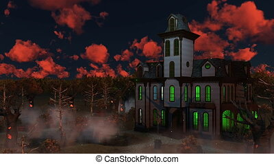 Scary mansion at fantastic sunset dusk 4K - Sinister scenery...