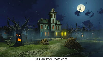 Scary mansion at misty night cinemagraph 4K