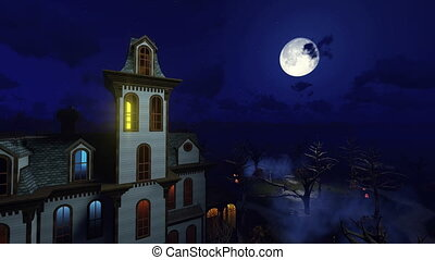 Scary mansion at moon night 4K - Fantastic big moon in a...