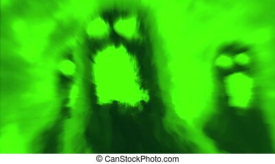 Scary monster shadow on green background. Animation in genre...