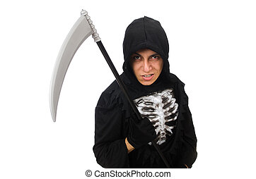 Scary monster with scythe isolated on white