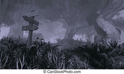 Scary mystical forest at night