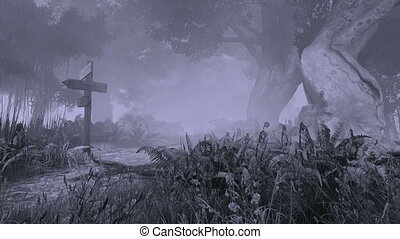 Monochromatic 3D animation of a spooky forest with wooden pointer on foreground and with ghostly silhouette in the distance.