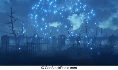Scary night graveyard with magic firefly lights 4K -...