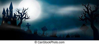 Scary night Halloween illustrationl - Night cemetery,...