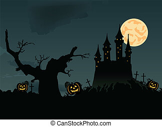 Scary night halloween. Vector