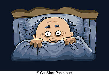 Scary Night in Bed - A cartoon man cowers under the covers...