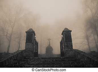 Scary old entrance to forest graveyard in dense fog