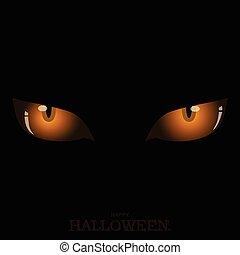 Scary orange cat's eyes on dark Halloween