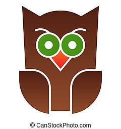 Scary owl flat icon. Forest night bird. Halloween party vector design concept, gradient style pictogram on white background.