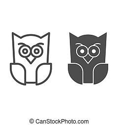 Scary owl line and solid icon. Forest night bird. Halloween party vector design concept, outline style pictogram on white background.