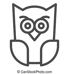 Scary owl line icon. Forest night bird. Halloween party vector design concept, outline style pictogram on white background.