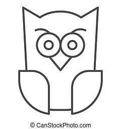Scary owl thin line icon. Forest night bird. Halloween party vector design concept, outline style pictogram on white background.