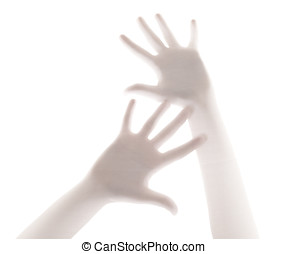 scary palm of hand behind shower curtain background - Hands...