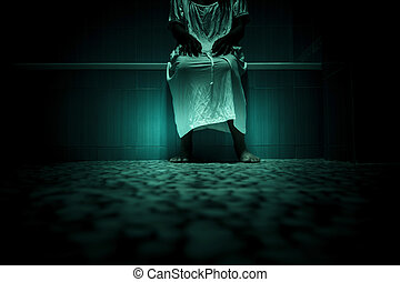 Scary person in white dress standing close to bathtub