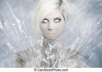 Scary Psychedelic Woman Face - Scary girl face with white...