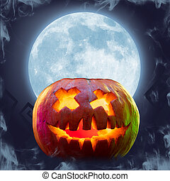 Scary pumpkin on bright background, the night of fear