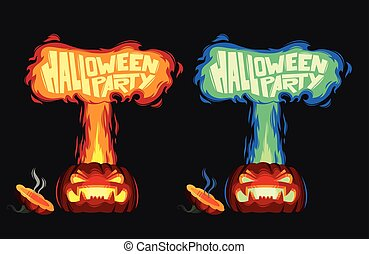 Scary pumpkin with fire