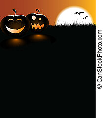 scary pumpkins with a full moon