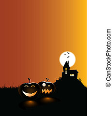scary pumpkins with a haunted house