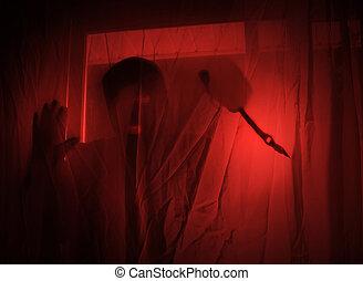 Scary Red Burglar Breaking In House