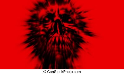 Scary red demon skull with a torn face animation - Scary red...