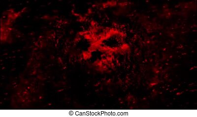 Scary red neon skull abstraction from debris and dots....