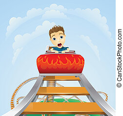 Scary ride on rollercoaster - Cartoon of a young boy or man...