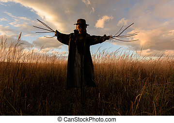 Scary scarecrow in a hat on a cornfield in cloudy weather....
