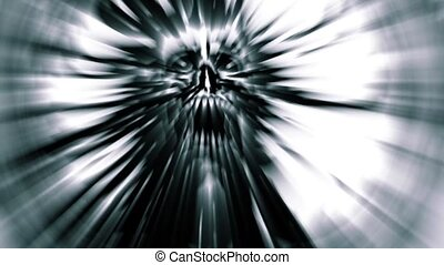 Scary silver demon skull with a torn face. Looped video...