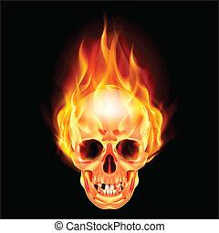Scary skull on fire. Illustration on black background