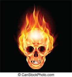 Scary skull on fire. Illustration on black background